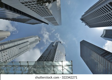 MARINA BAY, SINGAPORE-Mar 16: Business Building in Marina Bay again blue sky ,March 16, 2015,City wonderful buildings in Singapore.