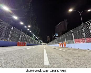 Marina Bay Street Circuit, Singapore - September 19, 2019:  Preparation of Night Race of Formula One Singapore Airlines Singapore Grand Prix 2019 now at Marina Bay Street Circuit, Singapore