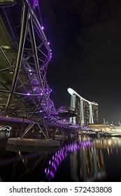 Marina Bay/Singapore: 24th November 2010- Helix bridge is one of the iconic bridge located in Marina Bay.  It's popular among the visitors due to the stunning night view.