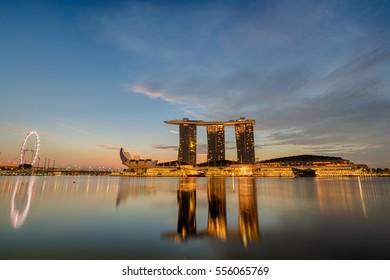 MARINA BAY-SINGAPORE JAN 12 : Twilight time of Marina Bay show of City Night light acitivity on January 12, 2017,City buildings in Singapore.