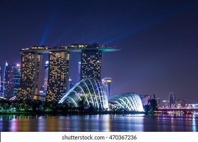 Marina Bay,SINGAPORE-Aug 14, 2016 : Marina Bay View of Singapore city landmark in twilight sky