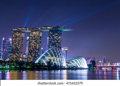Marina Bay,SINGAPORE-Aug 14, 2016 : Marina Bay View of Singapore city landmark