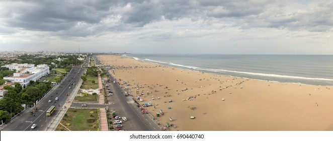Marina Beach Aerial view In Chennai , Tamil Nadu, India