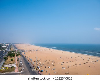 Marina beach in Chennai City, India.