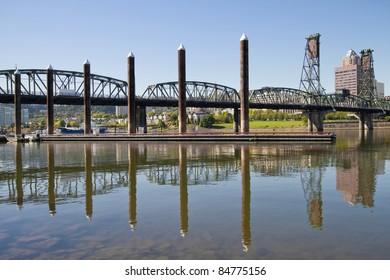 Marina by Willamette River In Portland Oregon Waterfront
