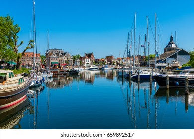 Marina in Canal in Enkhuizen Netherlands