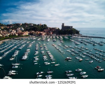 marina and Castle in the fishing village of Lerici, Italy