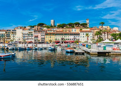 Marina and City Center of Cannes, Southern France.
