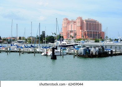 Marina in Clearwater, Florida with beach hotel in the background.