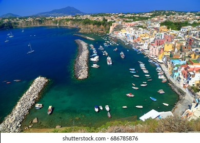 Marina Corricella harbor on the island of Procida, southern Italy