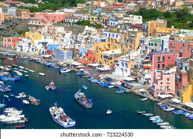 Marina Corricella harbor on the island of Procida as seen from above, southern Italy