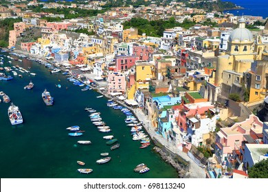 Marina Corricella with historical buildings on the island of Procida, bay of Naples, southern Italy