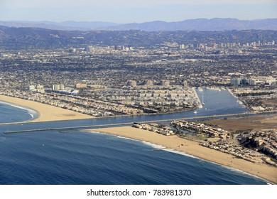 Marina Del Ray Harbor near Los Angeles International Airport (LAX) off the coast of California