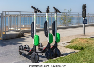 MARINA DEL REY, CA - JULY 6, 2018: LIME, a BIRD electric scooter competitor has shown up on the sidewalks in Los Angeles County.