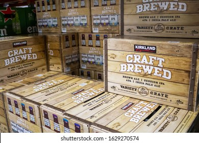 Marina Del Rey, California/United States - 01/23/2020: Several cases of Kirkland Signature Craft Brewed Variety Crate on display at a local Costco