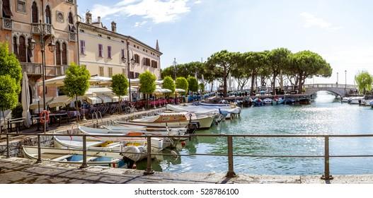 Marina in Desenzano town at Lake Garda in Italy