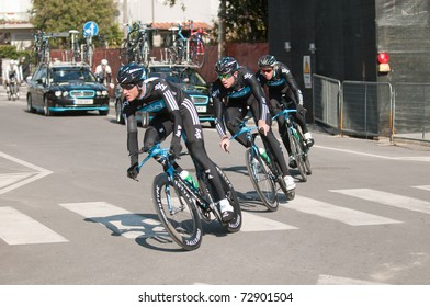 MARINA DI CARRARA, CARRARA , ITALY - MARCH 09: Team Sky Procycling  during the Warm-up before the 1st Time Trial stage of 2011 Tirreno-Adriatico on March 09, 2011 in Marina di Carrara, Carrara, Italy