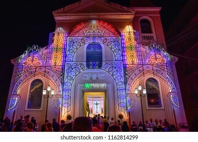 Marina di Gioiosa Ionica, Italy - August 16, 2015: Night view of a San Nicola di Bari church with illuminations, in celebration of Madonna del Carmine.