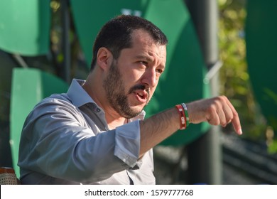 MARINA DI PIETRASANTA, ITALY - JULY 14, 2015:  Matteo Salvini, head of Italy's Northern League, speaks during a interview, leader Lega Nord, ex Italian Interior Minister and vice premier in 2018.
