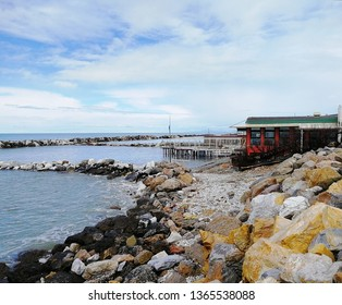 Marina di Pisa, Italy. Region Toscana. View on the city, beach and sea. Ligurian sea.