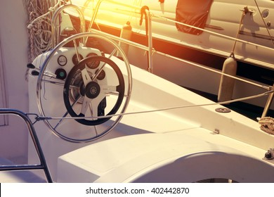 Marina with docked yachts