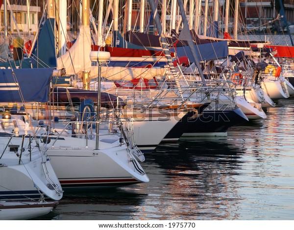 Marina with docked yachts.