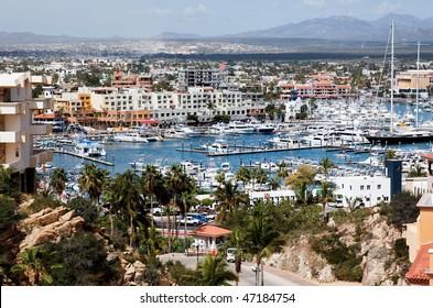 Marina and downtown Cabo San Lucas, Mexico