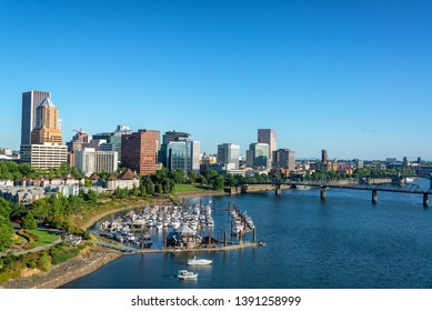 Marina with downtown Portland, Oregon in the background