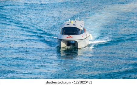 Marina, Dubai/ UAE, October, 26, 2018, Dubai RTA Boat Service, Businessbay Water Canal
