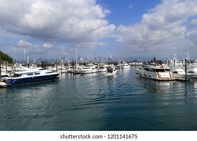 Marina full of boats with storm clouds rolling in ahead of hurricane; scenic vacation background