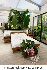 Marina Gardens Drive, Singapore - July 24, 2018: In Gardens Festival, the Gardening Society showcases indoor design concept using plants as divider, aquaponics, terrarium and balcony decoration.