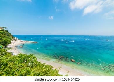 Marina Grande beach in world famous Capri island. Campania, Italy