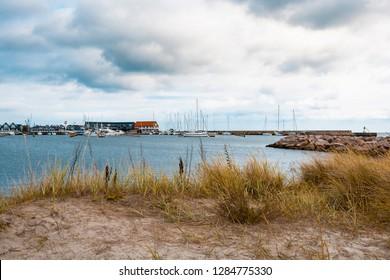 Marina in Greena (Denmark) overlooking the Baltic Sea and the beach