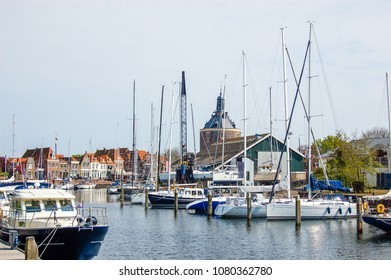 Marina in Holland town. Enkhuizen, the Netherlands.