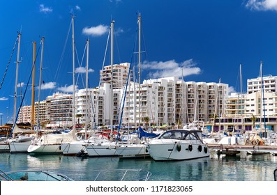 Marina of Ibiza Island. Port of San Antonio de Portmany. San Antonio (also Sant Antoni) is the second largest town in Ibiza. Moored nautical vessel moored in bay of the sea. Balearic Islands. Spain