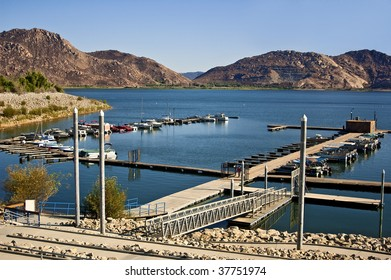 The Marina at Lake Perris State Park in Moreno Valley, California - one of the most popular lakes in Southern California.