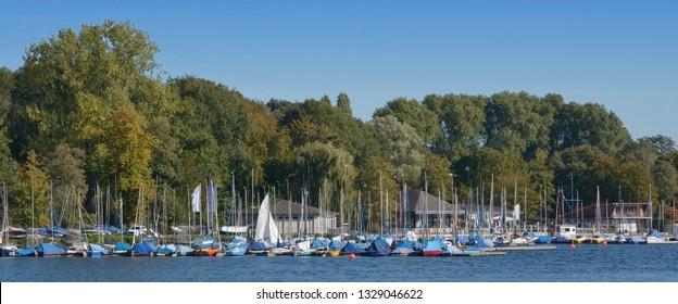 Marina at Lake Unterbacher See in Duesseldorf,North Rhine westphalia,Germany