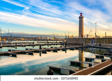 marina and lighthouse of Sète in Occitania, France