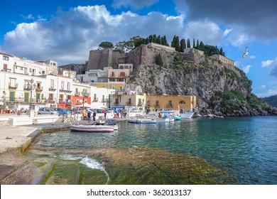 Marina in Lipari Island, Sicily, Italy