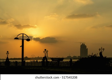 Marina Mall in Abu Dhabi in sunset time, United Arab Emirates. Marina Mall, Abu Dhabi, Emirates, shopping centre