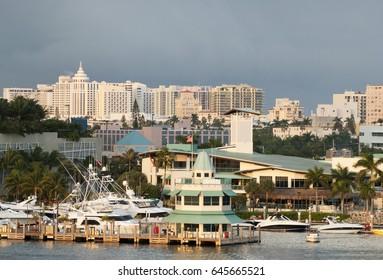The marina of Miami Beach in a sunset light (Florida).