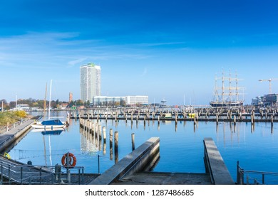 Lubeck-Travemünde with marina and new apartment houses in low s