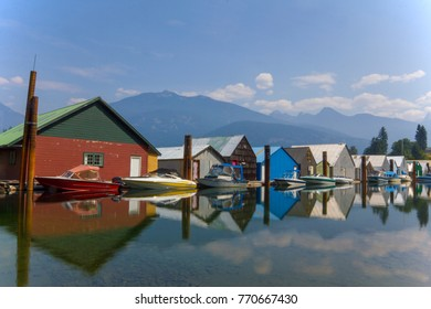 Marina on Kootenay Lake with mountains in the background