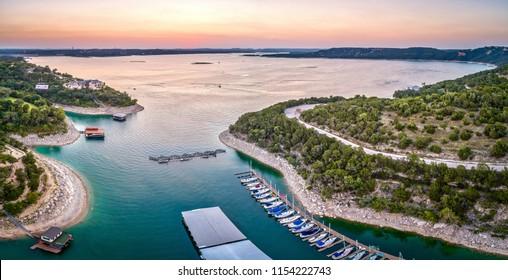 Marina On Lake Travis In Austin, Texas During Sunset