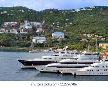 Marina on a Tropical island Marina at St. Thomas, Virgin Islands in Caribbean Sea