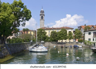 Marina of Pallanza which depends of comune Verbania situated on the shore of Lake Maggiore in Italy and San Leonardo church