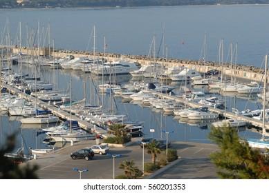Marina of Porquerolles Island, National Park, Hyères, France