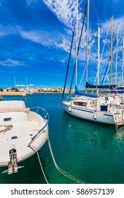 Marina port boats in Porto Colom, Majorca island, Spain Balearic Islands, Mediterranean Sea coast.