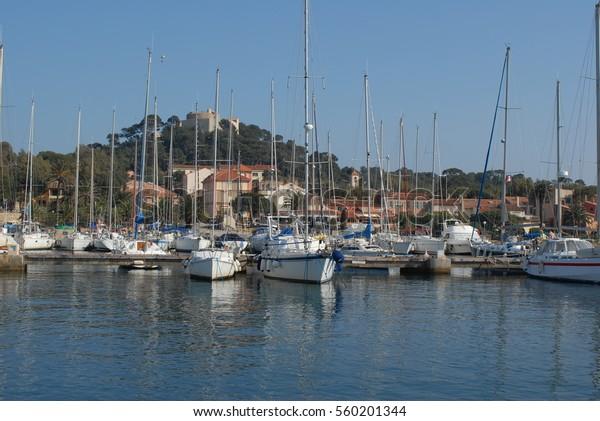 Marina of Port-Cros Island, National Park, Hyères, France