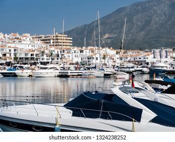 MARINA OF PUERTO BANUS - FEBRUARY-22- 2019 - Luxurious yachts in Puerto Banus near Marbella on Costa del Sol, Andalusia, Malaga province, Spain